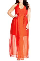 Plus Size Women's City Chic 'Bright Party' Embellished Racerback Maxi Dress