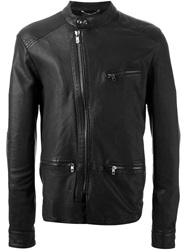 Diesel Black Gold Off Centre Zip Leather Jacket