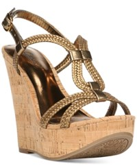 Carlos By Carlos Santana Barby Cork Wedge Sandals Women's Shoes Bronze