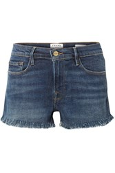 Frame Le Cutoff Frayed Denim Shorts Dark Denim
