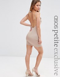 Asos Petite Sexy Rib Mini Bodycon Dress With Scoop Back And Strappy Back Mink Beige