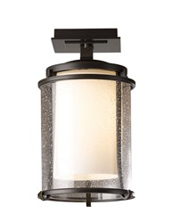 Hubbardton Forge Meridian Outdoor Semi Flush Incandescent Bronze Opal And Seeded Brown