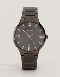 Sekonda Black Bracelet Watch With Rose Gold Black Dial Exclusive To Asos Black