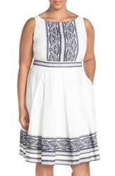Plus Size Women's Taylor Dresses Embroidered Cotton Voile Fit And Flare Dress
