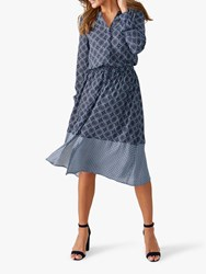Pure Collection Tile Print Drawstring Dress Navy