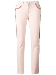 Etro Lateral Strap Cropped Jeans Pink Purple