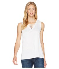 Tribal Slub Knit Lace Up Tank Top White Sleeveless