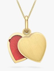 Ibb 9Ct Gold Brushed Heart Locket Pendant Necklace Gold