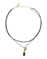 Nakamol Double Strand Faux Suede And Quartz Choker Necklace Black