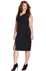 Mynt 1792 'Moto' Asymmetrical Zip Sheath Dress Plus Size Black