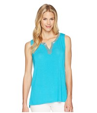 Tribal Soft Knit Sleeveless Beaded Top Caribbean Blue