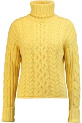 See By Chloe Cable Knit Turtleneck Sweater Bright Yellow