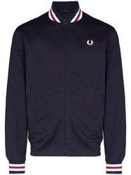Fred Perry Zip Up Bomber Jacket Blue