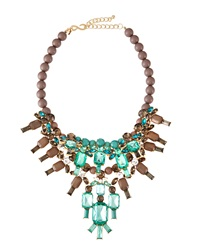 Kenneth Jay Lane Beaded Crystal Bib Necklace Green Blue Brown