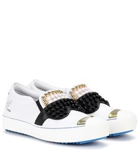 Fendi Embellished Slip On Leather Sneakers White