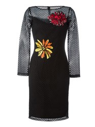 Boutique Moschino Fishnet Flower Patch Dress Black