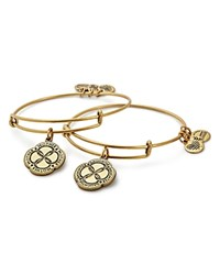 Alex And Ani Infinite Connection Expandable Wire Bangles Set Of 2 Gold