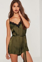 Missguided Silky Eyelash Lace Playsuit Green Olive