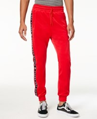American Stitch Men's Fight Power Velour Track Pants Red