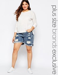 Alice And You Distressed Denim Short Blue