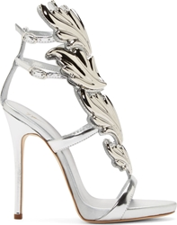 Giuseppe Zanotti Silver Leather Wing Decal Kanye West Edition Stilettos