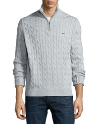 Lacoste Cable Knit Half Zip Knit Sweater Gray