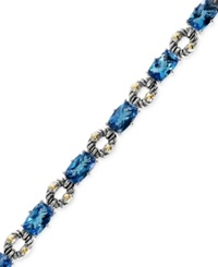 Effy Collection Balissima By Effy Blue Topaz Bracelet In Sterling Silver And 18K Gold 21 1 3 Ct. T.W.