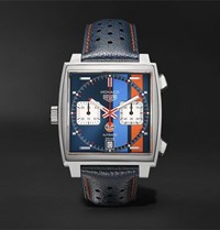 Tag Heuer Monaco Gulf Edition Automatic 39Mm Steel And Leather Watch Blue