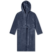 Schiesser Hooded Towelling Bath Robe Blue
