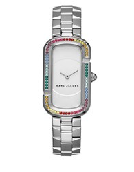 Marc Jacobs The Stainless Steel Rainbow Glitz Bezel Two Hand Bracelet Watch Silver