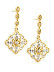 Freida Rothman Classic Cz And 14K Gold Plated Sterling Silver Drop Earrings