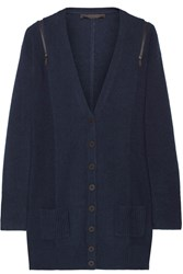 Karl Lagerfeld Kimie Zip Detailed Wool And Cashmere Blend Cardigan Blue