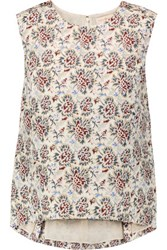 Tory Burch Leva Printed Silk And Cotton Blend Top Pastel Pink