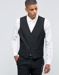Selected Homme Suit Waistcoat With Mini Tartan In Skinny Fit With Stretch Black
