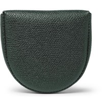 Valextra Pebble Grain Leather Coin Wallet Green