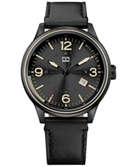 Tommy Hilfiger Men's Black Leather Strap Watch 46Mm 1791103