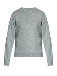 Massimo Alba J. Pierre Crew Neck Linen Blend Sweater Blue