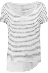 Majestic Striped Linen Top White