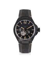 Lancaster Men's Watches Space Shuttle Meccanico Black Stainless Steel And Nubuck Men's Watch