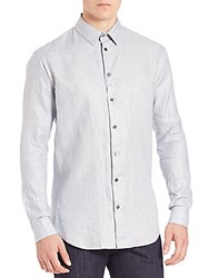 Giorgio Armani Heathered Long Sleeve Shirt Light Blue
