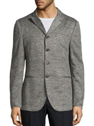 John Varvatos Slim Fit Heathered Sweater Jacket Light Grey