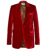 Saint Laurent Red Slim Fit Velvet Blazer Red