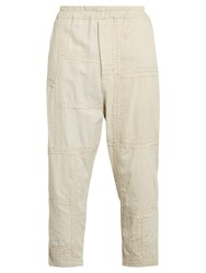 By Walid Morton Embroidered Panel Cotton Cropped Trousers Beige