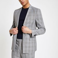 River Island Grey Check Stretch Slim Fit Suit Jacket