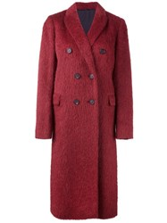 Brunello Cucinelli Double Breasted Mid Length Coat Red