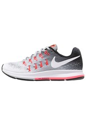 Nike Performance Air Zoom Pegasus 33 Neutral Running Shoes Wolf Grey White Black Hot Punch Pure Platinum