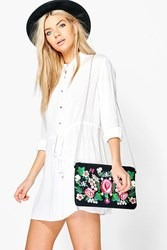 Boohoo Lace Sleeve Belted Shirt Dress White