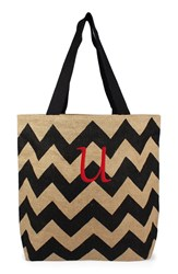 Cathy's Concepts Personalized Chevron Print Jute Tote Grey Black Natural U
