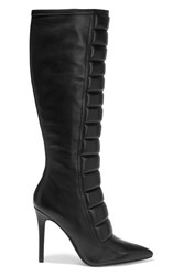 Balmain Quilted Leather Knee Boots Black