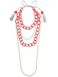 Night Market Beaded Chain Necklace White